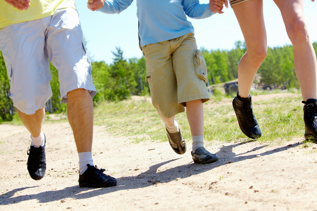 Legs of three family members going down forest path during summer vacation
