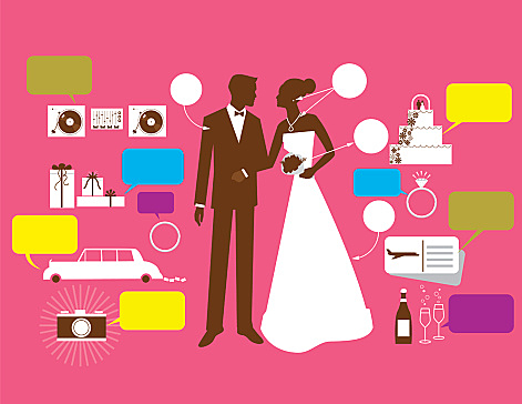Bride and groom surrounded by wedding price tags